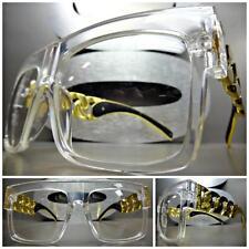 OVERSIZE VINTAGE RETRO Style Clear Lens EYE GLASSES Transparent Gold Chain Frame