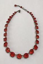 Antique Vintage Red Glass Stone Necklace Art Deco Victorian