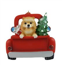 "Pomeranian Dog In Pick-Up Truck Christmas ornament 5.5"" Kurt Adler A1940"