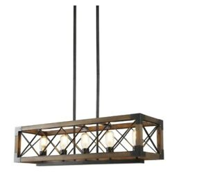 Solid Wood Modern Farmhouse Chandelier, Matte Black Rustic Kitchen Island Lighti