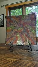 LARGE Decorative Mosaic Plate Glass with Metal Stand Art Contemporary