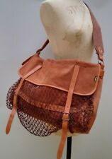 Rare Vintage Barbour Liddlesdale Bag Fishing Hunting Brown Leather Large Canvas