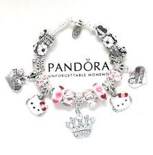 Pandora Bracelet Hello Kitty Kids 6.7  European Charms Pink Birthday New