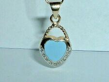 14K GOLD BLUE ENAMEL DIAMOND HEART PURSE HANDBAG CHARM PENDANT