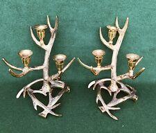 Pair of Gold Metal Deer Antler Candle Holders