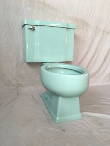 Vtg Mid Century Deco Robbins Egg Blue Porcelain Toilet Old WE SHIP 428-20E