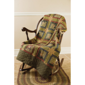 New Primitive Folk Art Quilted Patchwork Tea Cabin Red Green Quilt Throw Blanket