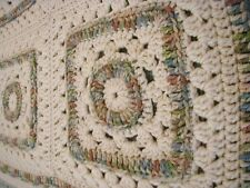 "Granny Square Reversible Afghan Hand Crochet Made Throw Blanket 50"" x 70"""