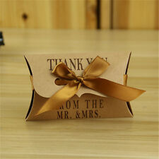 50pcs Vintage Kraft Sweet Candy Pillow Gift Boxes Wedding Party Favor Ribbon