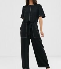 Asos Design Black Jumpsuit With Pockets And Contrast Stitching Size 12