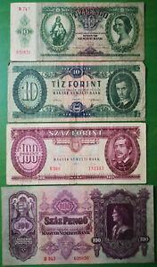 Hungary lot 4 banknotes 1930-1992. VF-F.