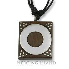 Amulett Anhänger Design Kette Halskette Holz Edelstahl N273