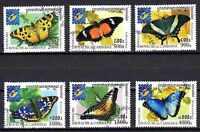 Mariposas Camboya (3) serie completo de 6 sellos matasellados