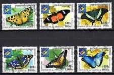 Papillons Cambodge (3) série complète de 6 timbres oblitérés