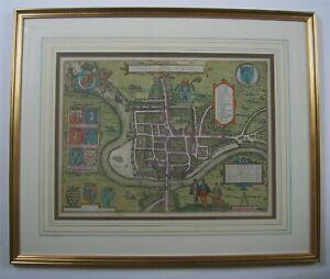 Chester: antique city plan by Braun & Hogenberg, c1581