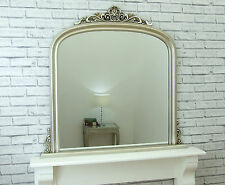 Dayton Large Champagne Silver Ornate Arched Overmantle Wall Mirror 109cm X 104cm