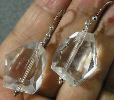 "Rock Crystal Quartz Faceted Nugget .925 Sterling Silver Earrings 2"" Long"