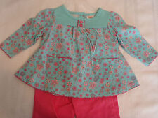 Fisher Price Girls 12 Month Embroidered Pink Pants Floral Long Sleeve Shirt NWT