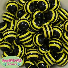 20mm Black and Yellow Bee Stripe Resin Chunky Bubblegum Beads 20 pc