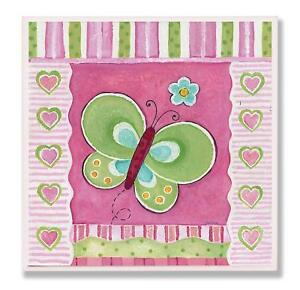 The Kids Room Green Butterfly with Stripes and Hearts Square Wall Plaque