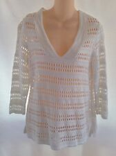 Chico's White V Neck 3/4 Sleeve Pullover Sweater Size 1 Medium