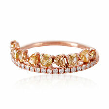Handmade Designer Ice Diamond Band Ring 18k Solid Rose Gold Fashion Jewelry
