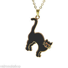 """BLACK ENAMEL CAT PENDANT ON GOLD PLATED 18"""" CHAIN IN GIFT BOX GREAT PRESENT"""