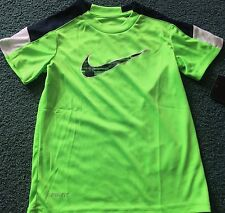 NWT Nike Boys 6 Neon Green/Navy Blue/White/Green SWOOSH Dri-Fit Shirt 6