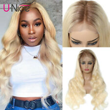 UNice Ombre Blonde Brazilian Body Wave Full Lace Human Hair Wigs T4/613 Glueless