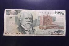 28Mar1989 Dos Mil Pesos 2,000 Banco De Mexico DG Series Circulated T0436528 32