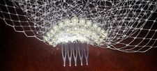 "New Brides Ivory birdcage veil 9"" with pearl and diamante arch comb fascinator"