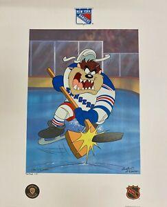 Toon Art New York NY Rangers Warner Bros Taz NHL Hockey Slapshot Litho Pub Proof