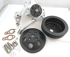 SB Chevy SBC Aluminum Long Water Pump & Black Billet Aluminum Pulley Kit 327-350