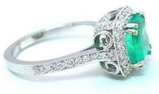 14K WHITE GOLD CUSHION CUT EMERALD AND ROUND DIAMOND RING HALO BRIDAL  2.00CTW