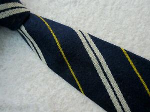 VINTAGE BLUE WHITE YELLOW STRIPED 3.5 INCH PURE WOOL TIE necktie