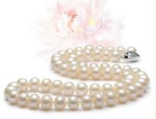 "AAAAA 17"" 9-10 mm real natural south sea white pearl necklace with silver clasp"