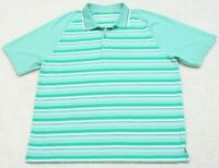 Izod Golf Polo Shirt Short Sleeve XXL Man's 2XL 3-Button Green White Striped Men