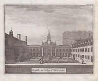 1707 Emmanuel College Cambridge University England antique print engraving