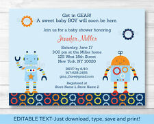 Baby Bots Robot Baby Boy Printable Baby Shower Invitation Editable PDF