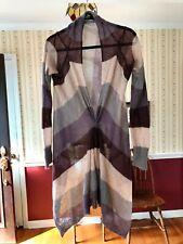 Laurie b Cardigan Sweater Brown Striped Lightweight Asymmetrical M *Read
