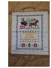 Vintage Cross Stitch Sampler Linen To A Friends House The Road Is Never Long
