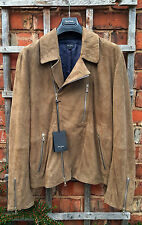 BNWT Paul Smith PS Taupe Perforated Suede Biker Jacket (Size: M)