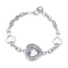 Love Heart Magnetic Full Crystal Locket Floating Charms Bracelet Living Memory