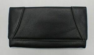 Unbranded Black Bi-Fold Envelope GENUINE Leather Wallet ~NWOTS