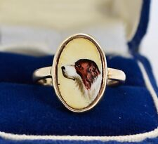 Antique 9ct YELLOW GOLD & Handpainted Enamel SPANIEL DOG Unusual RING - Sz M