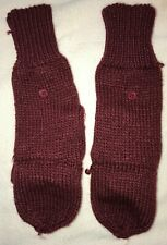 Old Navy womens size Large/Xl burgundy Fold Back Knit Winter Gloves Mittens