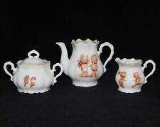 Old Germany Rose O Neill Wilson Kewpie Teapot Creamer & Sugar