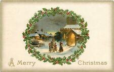 Christmas~Holly Portal~Family Walks Toward Lighted Church~Gold Leaf~Emb~Winsch