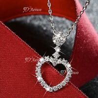 18k white gold gf MADE WITH SWAROVSKI crystal heart pendant necklace elegant
