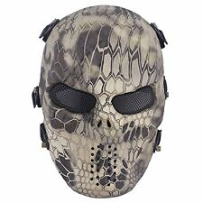 Mask Tactical Airsoft face paintball skull mesh safety protection All-terrain